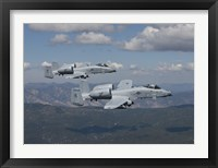 Framed Two A-10 Thunderbolt's Fly over Mountains in Central Idaho