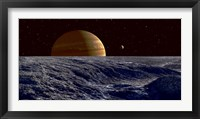 Framed Gas Giant Jupiter Seen Above the Surface of Jupiter's Moon Europa