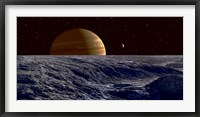 Framed Gas Giant Jupiter Seen Above the Surface of Jupiter's Moon Europa