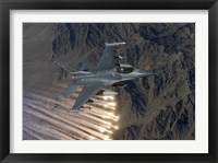 Framed F-16 Fighting Falcon Releases Flares