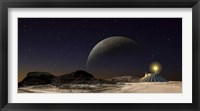Framed Futuristic Space Scene Inspired by the Novel, The City and The Stars