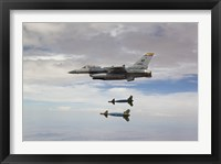 Framed F-16 Fighting Falcon Releases GBU-24 Laser Guided Bombs