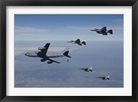Framed Four F-16's and a KC-135 over Arizona