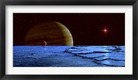 Framed Jupiter and its Moon Lo as Seen from the Surface of Jupiter's Moon Europa