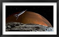 Framed Spaceship in Orbit over Mars Moon, Phobos