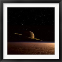 Framed Saturn Floats in the Background Above Titan