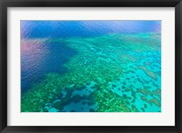 Framed Aerial view of the Great Barrier Reef, Queensland, Australia