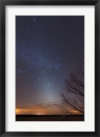 Framed Zodiacal Light and Milky Way over the Texas Plains