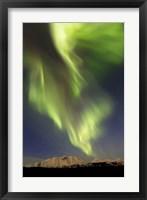 Framed Aurora Borealis over Emerald Lake, Carcross, Yukon, Canada