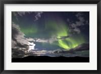 Framed Aurora Borealis with Moonlight at Fish Lake, Yukon, Canada