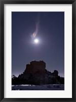 Framed Moon Diffraction over Malpais Monument Rock, New Mexico