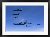 Framed Six F-15 Eagles Refuel from a KC-10 Extender