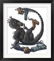 Framed Deinonychus Dinosaur Playing with Socks