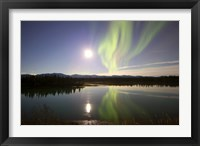 Framed Aurora Borealis with Full Moon over the Yukon River in Canada