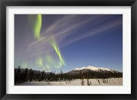 Framed Aurora Borealis over Mountain near Mayo, Yukon, Canada