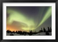 Framed Aurora borealis over Ogilvie Mountains