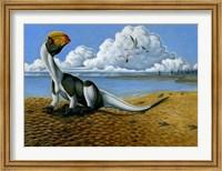 Framed Dilophosaurus on the beach