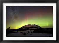 Framed Aurora Borealis and Milky Way over Carcross Desert, Canada