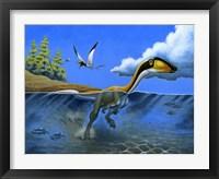Framed Megapnosaurus Dinosaur Goes for a Swim