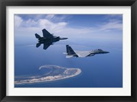 Framed Two F-15 Eagles Fly High over Cape Cod, Massachusetts