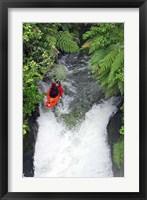 Framed Kayak in Tutea's Falls, Okere River, New Zealand