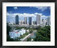 Framed Brisbane Skyline, Queensland, Australia