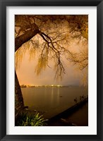 Framed City Lights across Lake Rotorua, Rotorua, Bay of Plenty, North Island, New Zealand