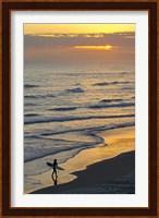 Framed Surfer at Blackhead Beach, South of Dunedin, South Island, New Zealand