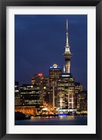 Framed City skyline at night, Auckland CBD, North Island, New Zealand