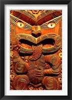 Framed Historic Maori Carving, Otago Museum, New Zealand