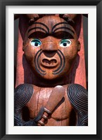 Framed Maori Carving on Arataki Visitors Centre, Waitakere Ranges, Auckland