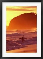 Framed Surfer at Sunset, St Kilda Beach, Dunedin, New Zealand