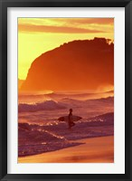 Framed Surfer at Sunset, St Kilda Beach, Dunedin, New Zealand