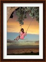Framed Girl, Rope Swing, Family Fun, Thames, New Zealand