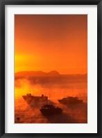 Framed New Zealand, Fishing Boats at sunrise, Stewart Island
