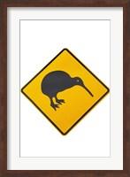 Framed Kiwi Warning Sign, New Zealand