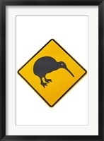 Framed Kiwi Warning Sign, New Zealand