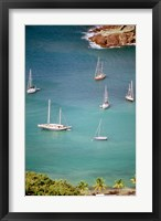 Framed Yachts Anchor in British Harbor, Antigua, Caribbean
