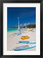 Framed Antigua, Dickenson Bay, beach, sailboats