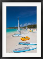 Framed Antigua, Dickenson Bay, beach, sailboats