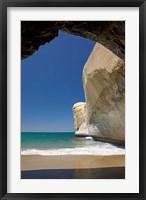 Framed Sea cave, beach and cliffs, Tunnel Beach, Dunedin, South Island, New Zealand