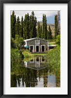 Framed shed and pond, Northburn Vineyard, Central Otago, South Island, New Zealand