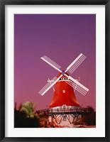 Framed Mill Resort against pink sky, Oranjestad, Aruba