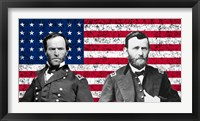 Framed General Sherman and General Ulysses S Grant with American Flag
