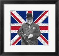 Framed Sir WInston Churchill with Union Jack