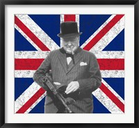 Framed Sir WInston Churchill with Union Jack