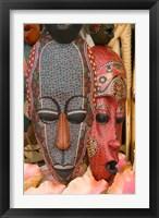 Framed Masks and Conch Shells at Straw Market, Nassau, Bahamas, Caribbean