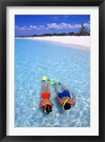 Framed Snorkeling in the blue waters of the Bahamas