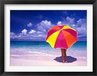 Framed Female Holding a Colorful Beach Umbrella on Harbour Island, Bahamas