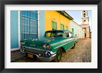 Framed 1958 Classic Chevy Car, Trinidad Cuba